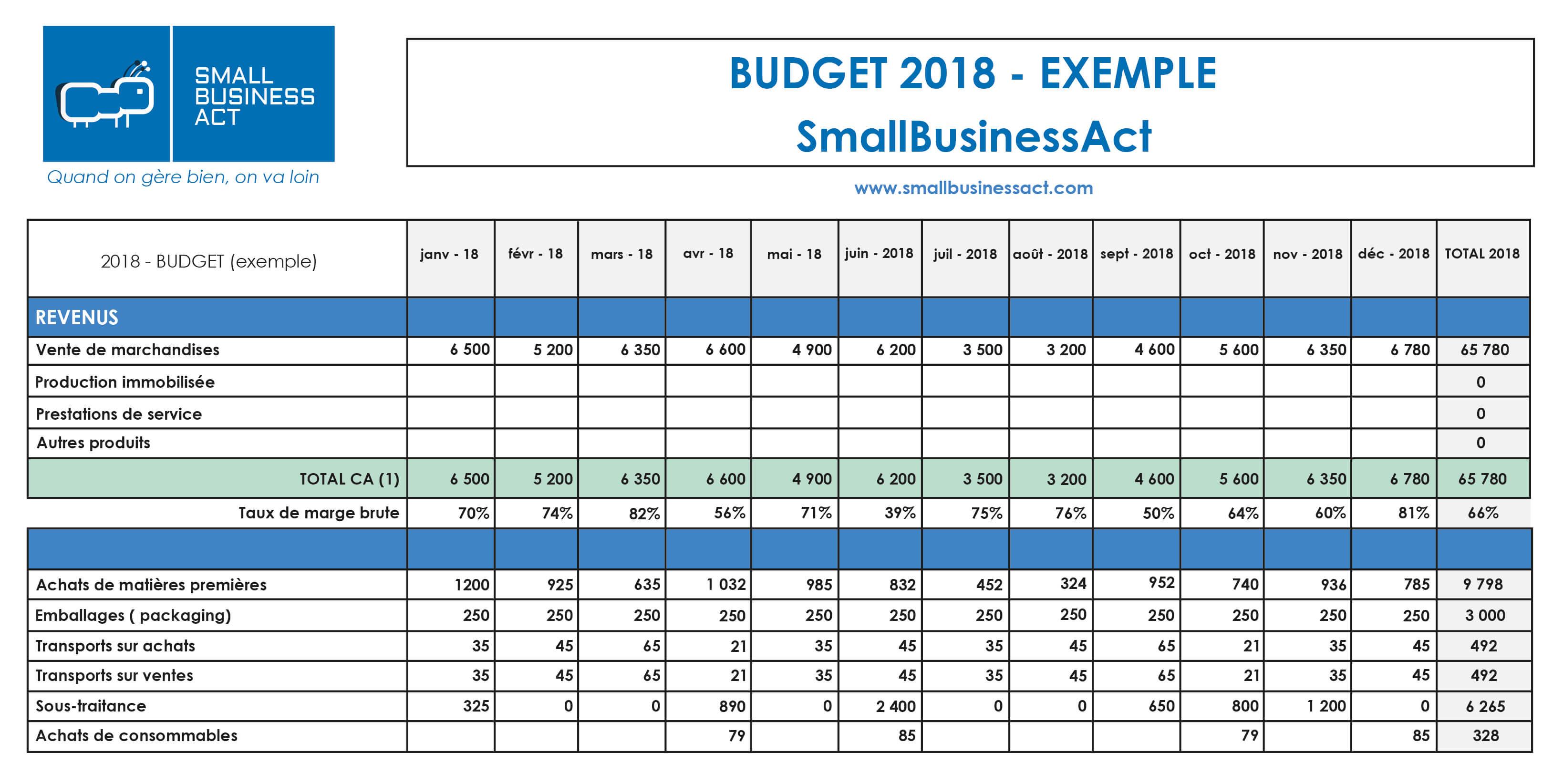6 conseils pour établir votre budget prévisionnel - Exemple Budget