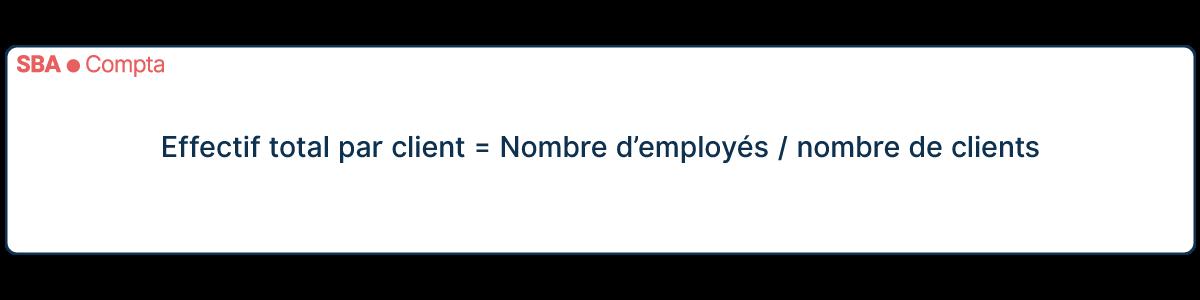 Calcul de l'effectif total par client = Nombre d'employés / nombre de clients