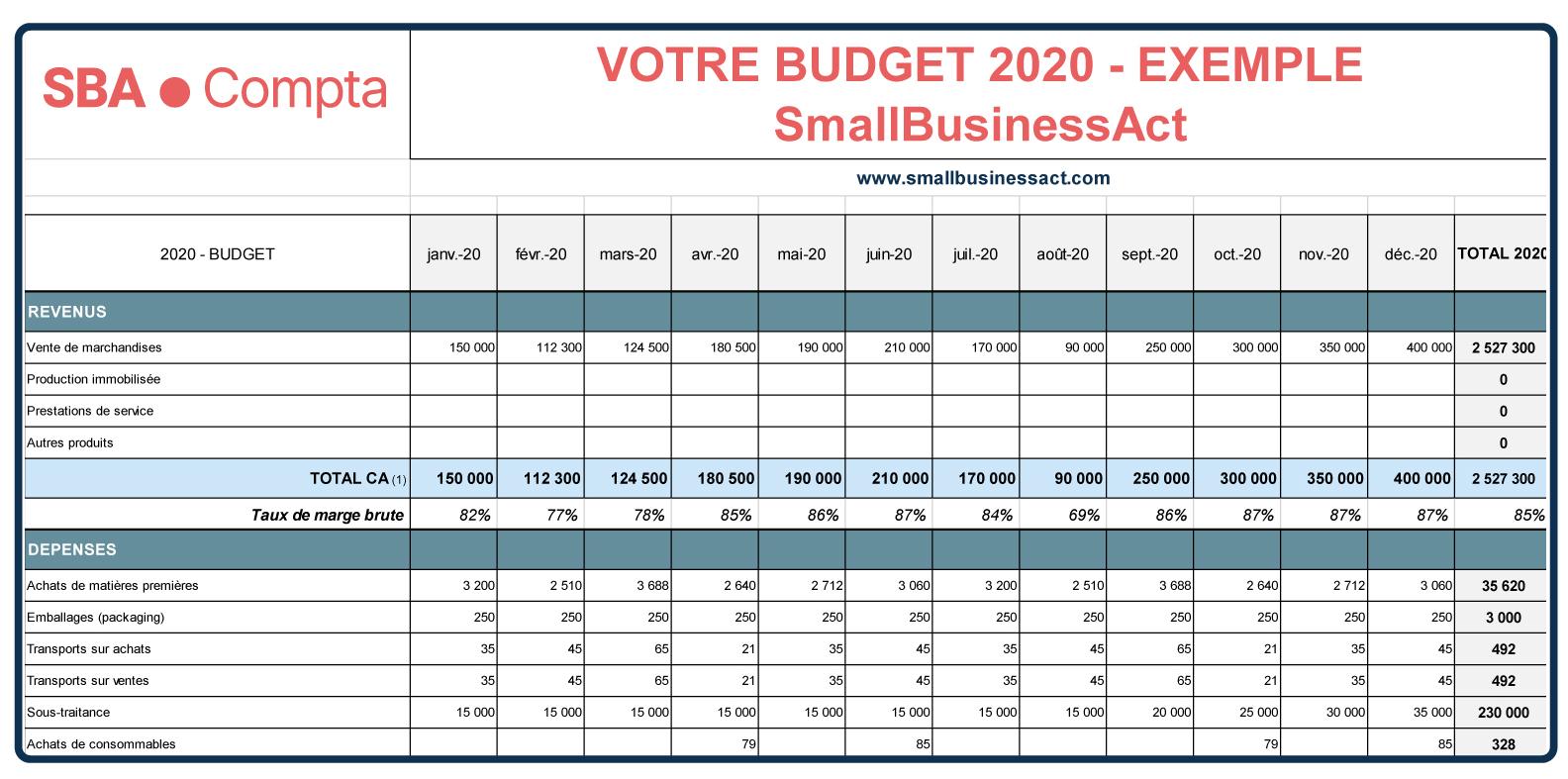 Tableau de budget prévisionnel : Exemple