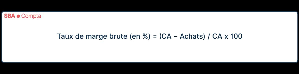 Calcul de taux de marge brute (en %) = (CA – Achats) / CA x 100