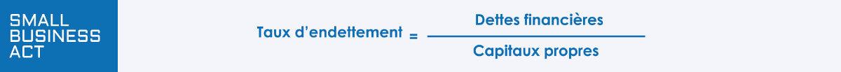 Calcul du Taux d'endettement = Dettes financières / Capitaux propres