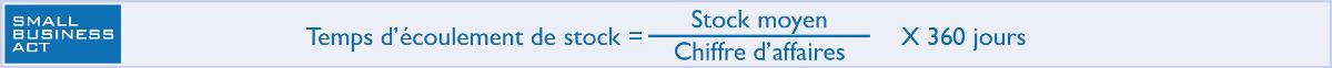 Calcul du temps d'écoulement de stock = Stock moyen / Chiffre d'affaires x 360 jours